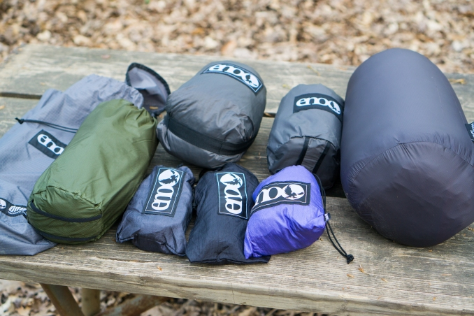 Geared up. Hammock, SuperFly tarp, underquilt, underbelly, straps and straps, HouseFly tarp